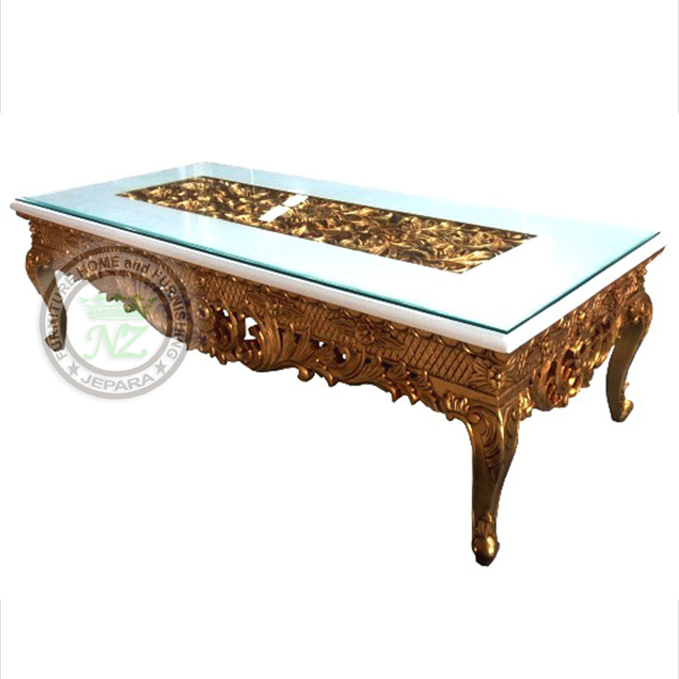 - Antique Carving Coffee Table Gold Leaf Shiny By Furniture Manufacturer