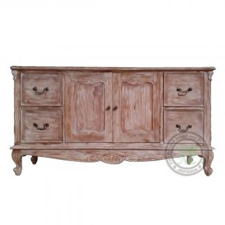 Teak Buffet Sideboard Rustic White Wash