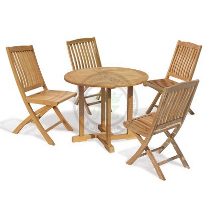 Teak Outdoor Round Dining Table 4 Folding Chair