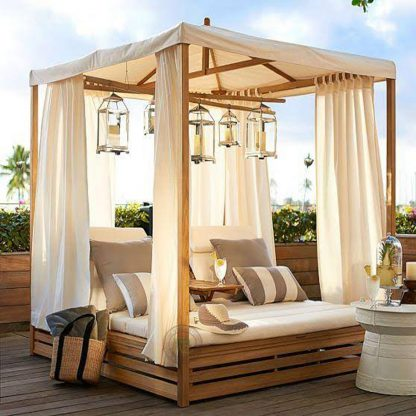 Teak Gazebo Double Sun Lounger