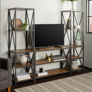 industrial tv stand and bookcase