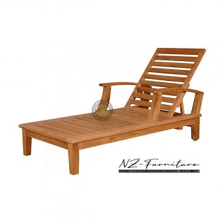 Reclining Arm Teak Sun Lounger