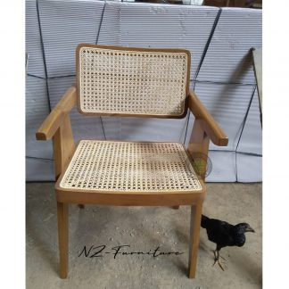 Teak Wood and Rattan Chairs