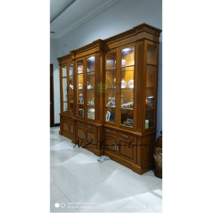 Lighted Display Cabinet 6 Teak Doors