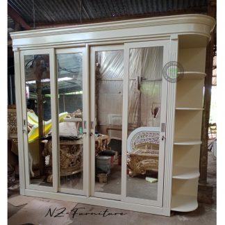 Ivory Wardrobe 4 Sliding Mirror Doors