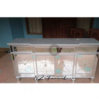 Mirrored Sideboard and Carara Marble Top