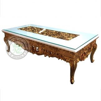 Antique Carving Coffee Table Gold Leaf Shiny