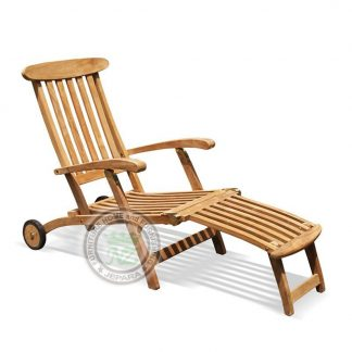 Teak Patio Classic Steamer Chaise Lounger