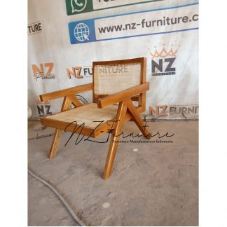 Solid Teak and Rattan Lounge Armchairs