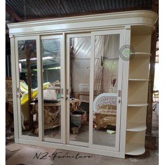 Ivory Wardrobe 4 Sliding Mirror Doors